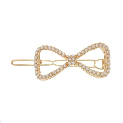 Hair Pin Clips Rose Gold Tone with Imitaiton Pearls Choose Your Design From Menu (Bowknot 5.8cm X 2.1cm) - Sexy Sparkles Fashion Jewelry