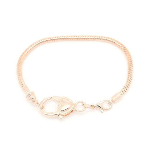 7.25 Rose Gold Heart Lobster Clasp Snake Chain Charm Bracelet