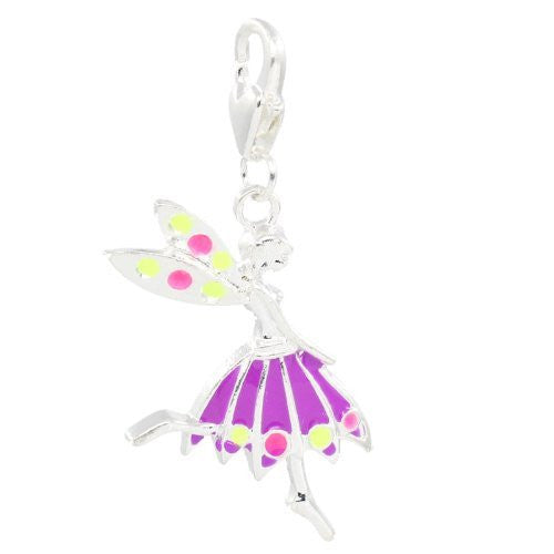 Clip on Purple Fairy Girl Pendant for European Jewelry w/ Lobster Clasp