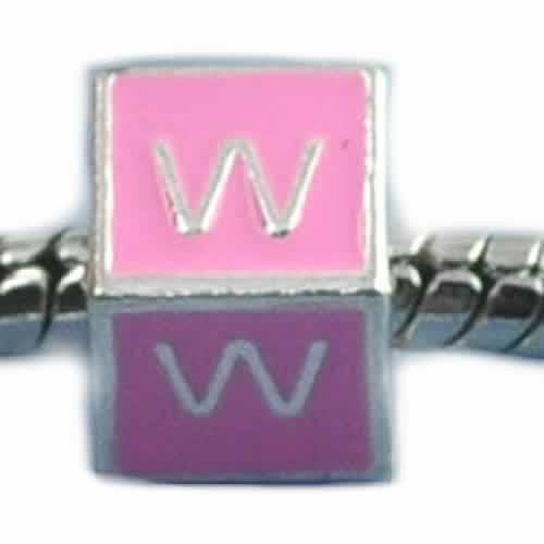 """W"" Letter Square Charm Beads Pink Enamel European Bead Compatible for Most European Snake Chain Charm Bracelets"