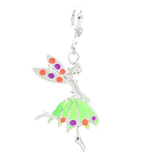 Clip on Green Fairy Girl Pendant for European Jewelry w/ Lobster Clasp