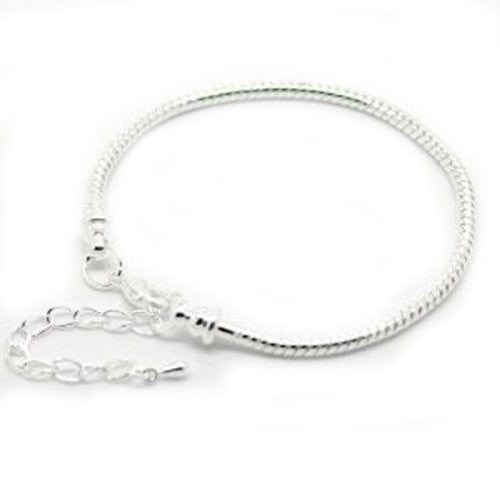Bracelet Fits 8-10 Inch Beads Tone Snake Chain Charm Bracelet with Lobster Clasp
