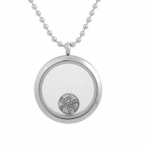 "Round Locket Crystal Necklace Base and Floating Family Charms (""Best Grandma"") - Sexy Sparkles Fashion Jewelry - 2"