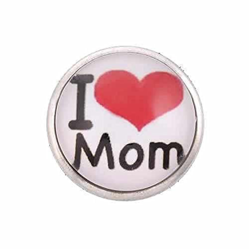 I Love Mom Chunk Snap Jewelry Button Round Silver Tone Fit Chunk Bracelets