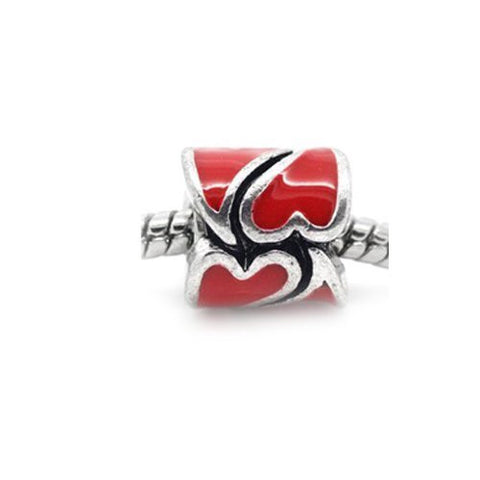 Heart Pattern Bead European Bead Compatible for Most European Snake Chain Braceletss (Red) - Sexy Sparkles Fashion Jewelry - 2