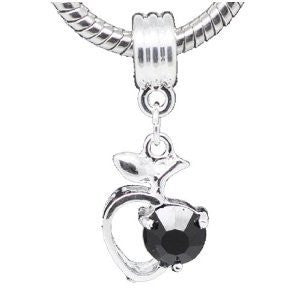 Black Rhinestone Apple Heart Dangle Bead Compatible for Most European Snake Chain Braceletfor Snake Chain Bracelet - Sexy Sparkles Fashion Jewelry - 4