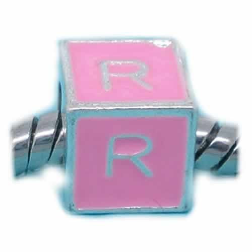 """R"" Letter Square Charm Beads Pink Enamel European Bead Compatible for Most European Snake Chain Charm Bracelet"