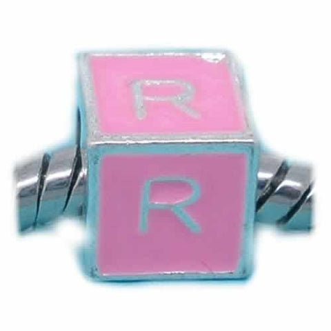 """R"" Letter Square Charm Beads Pink Enamel European Bead Compatible for Most European Snake Chain Charm Bracelet - Sexy Sparkles Fashion Jewelry - 1"