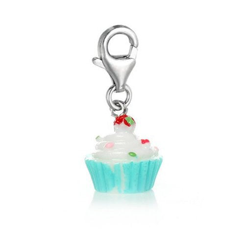Cupckae w/Cherry on Top Clip On For Bracelet Charm Pendant for European Charm Jewelry w/ Lobster Clasp