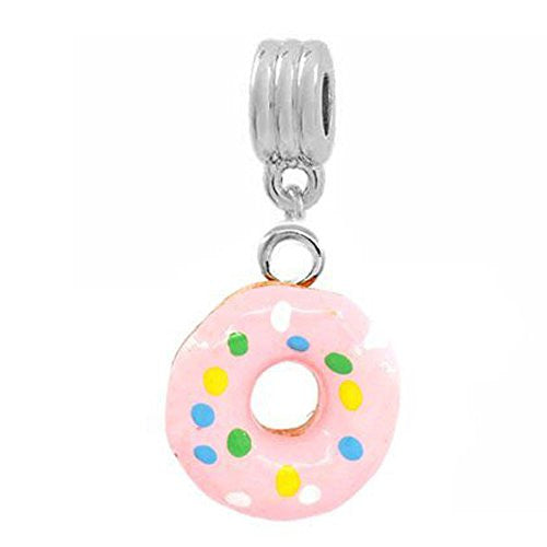 Pink Donut Dangle European Bead Compatible for Most European Snake Chain Bracelets
