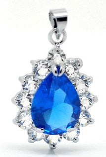 (1) Blue Titanic Inspired Elegant Tear Drop Faceted Glass Crystal with Rhinestone Pendent - Sexy Sparkles Fashion Jewelry