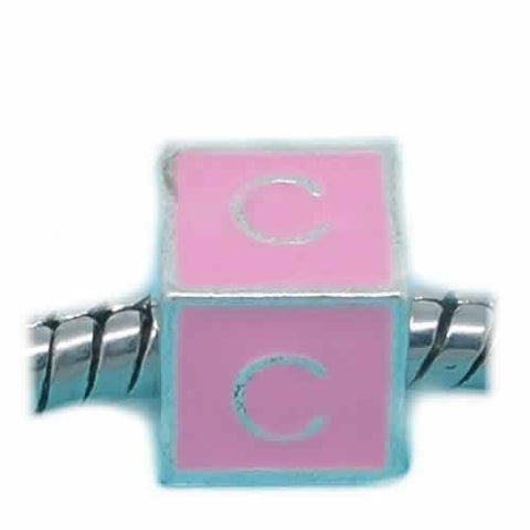"""C"" Letter Square Charm Beads Pink Enamel European Bead Compatible for Most European Snake Chain Charm Bracelets - Sexy Sparkles Fashion Jewelry - 1"