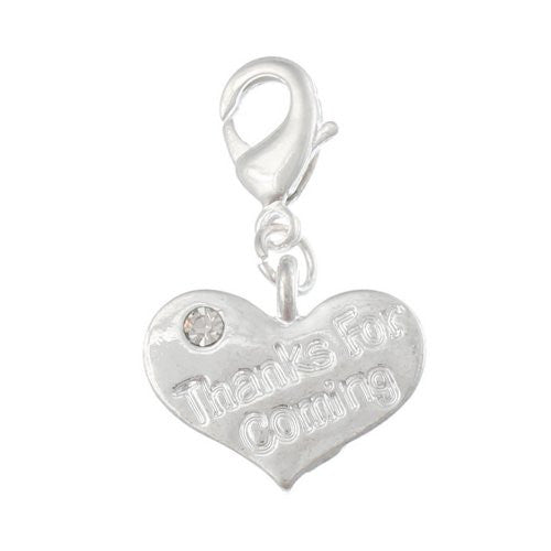 Thanks for Coming Heart Clear Crystal Clip On Charm Pendant for European Charm Jewelry w/ Lobster Clasp