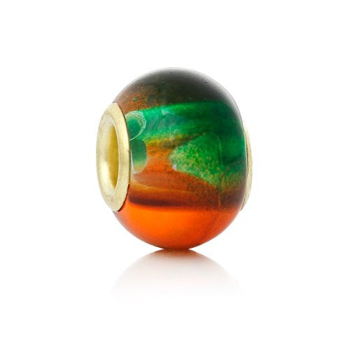 5 Glass European Charm Beads Round Green & orange multi