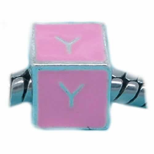 """Y"" Letter Square Charm Beads Pink Enamel European Bead Compatible for Most European Snake Chain Charm Bracelet"