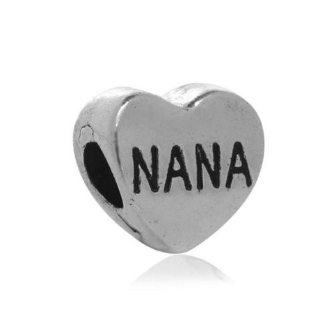 Nana Heart Bead European Bead Compatible for Most European Snake Chain Charm Bracelets - Sexy Sparkles Fashion Jewelry - 1