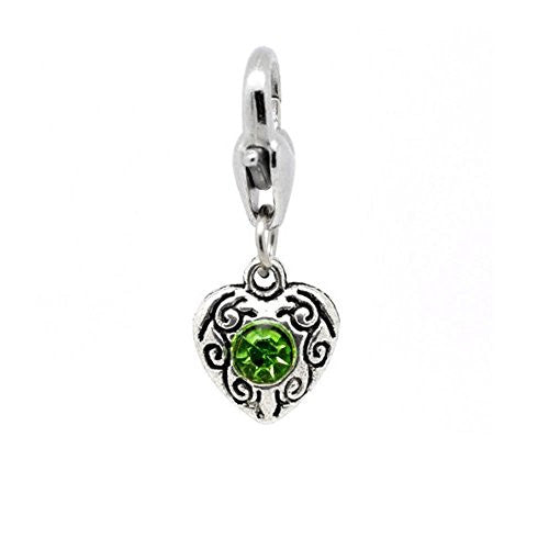 Heart  Antique Silver August Green  Rhinestone Clip On Charms. Fits Thomas Sabo 26x10mm,