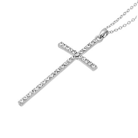 Fashion Jewelry Women Necklace Silver Tone Cross Clear Rhinestone 43.5cm(17 1/8) Long, - Sexy Sparkles Fashion Jewelry - 2