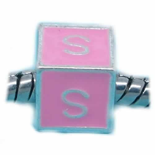 """S"" Letter Square Charm Beads Pink Enamel European Bead Compatible for Most European Snake Chain Charm Bracelets"