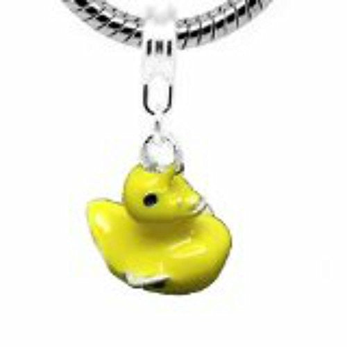 Duck Yellow Enamel Charm European Bead Compatible for Most European Snake Chain Bracelet