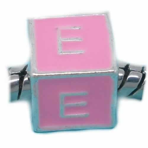 """E"" Letter Square Charm Beads Pink Enamel European Bead Compatible for Most European Snake Chain Charm Braceletss - Sexy Sparkles Fashion Jewelry - 1"