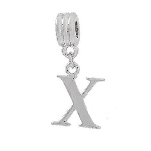 Alphabet Spacer Charm Beads Letter X for Snake Chain Bracelets