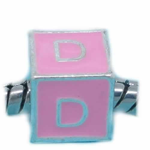 """D"" LetterSquare Charm Beads Pink Enamel European Bead Compatible for Most European Snake Chain Charm Braceletss - Sexy Sparkles Fashion Jewelry - 1"