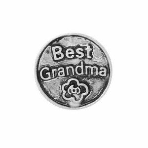 "Round Locket Crystal Necklace Base and Floating Family Charms (""Best Grandma"") - Sexy Sparkles Fashion Jewelry - 4"