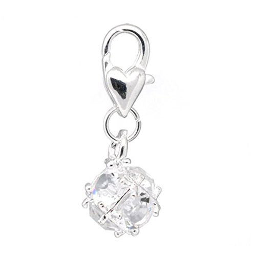 April Birthstone Dangle Charm Pendant for European Clip on Charm Jewelry w/ Lobster Clasp