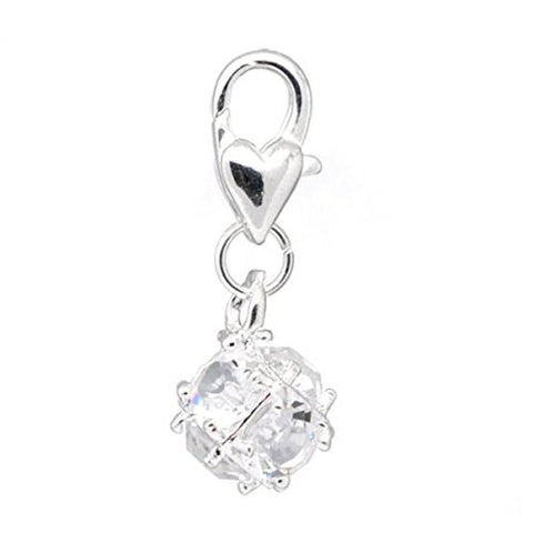 April Birthstone Dangle Charm Pendant for European Clip on Charm Jewelry w/ Lobster Clasp - Sexy Sparkles Fashion Jewelry - 1