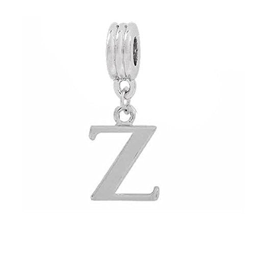 Alphabet Spacer Charm Beads Letter Z for Snake Chain Bracelets