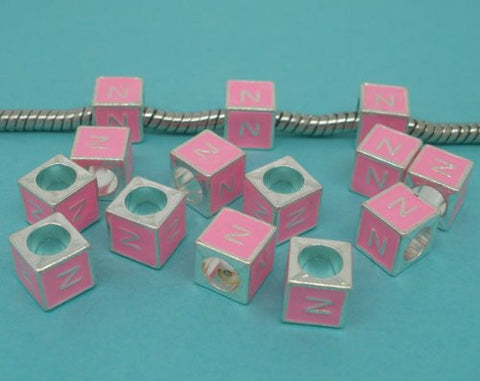 """N"" Letter  Square Charm Beads Pink Enamel European Bead Compatible for Most European Snake Chain Charm Bracelets - Sexy Sparkles Fashion Jewelry - 2"