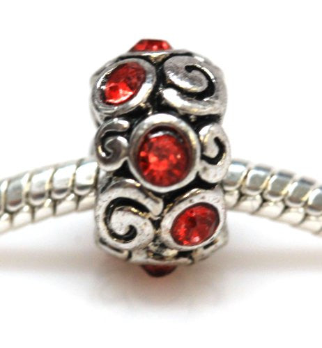 Red  Rhinestone Charm Spacer European Bead Compatible for Most European Snake Chain Bracelet