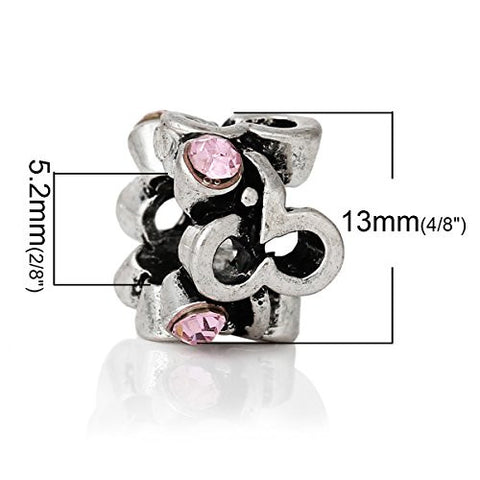 Beautiful Mothes Day Pink Crystal Charm Spacer European Bead Compatible for Most European Snake Chain Bracelet - Sexy Sparkles Fashion Jewelry - 3