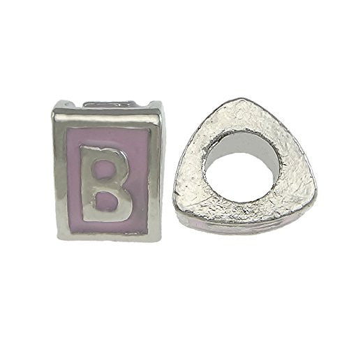 """B"" LetterTriangle Charm Beads  Pink Spacer for Snake Chain Charm Bracelet - Sexy Sparkles Fashion Jewelry"