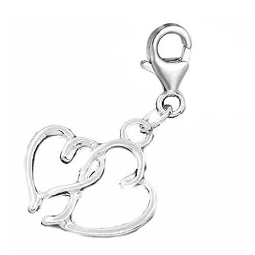 Hearts Pendant for European Clip on Charm Jewelry w/ Lobster Clasp