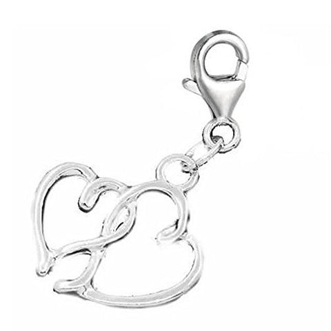 Hearts Pendant for European Clip on Charm Jewelry w/ Lobster Clasp - Sexy Sparkles Fashion Jewelry - 1