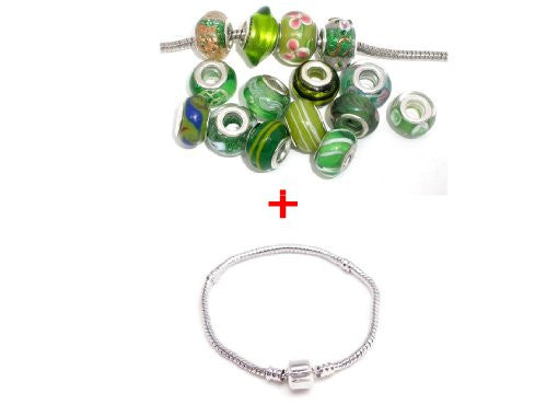 9.0 Inch Bracelet + Ten Pack of Assorted Green Glass Lampwork, Murano Glass Beads