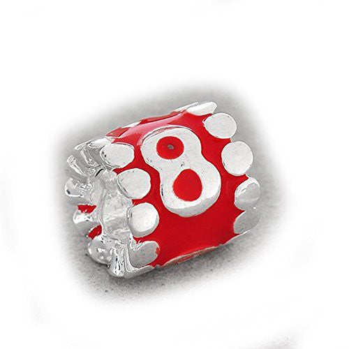 Your Lucky Numbers 8 Red Enamel Number Charm Beads Spacer For Snake Chain  Bracelet