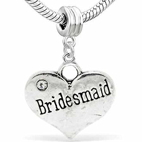 Wedding Charms Heart W/Crystal Dangle Charm Bead For Snake Chain Bracelet (Bridesmaid)