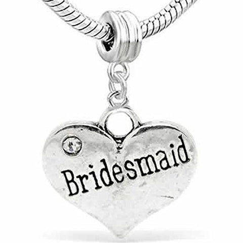 Wedding Charms Heart W/Crystal Dangle Charm Bead For Snake Chain Bracelet (Bridesmaid) - Sexy Sparkles Fashion Jewelry - 1