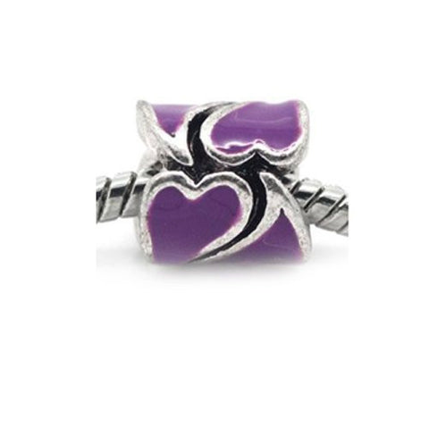 Heart Pattern Bead European Bead Compatible for Most European Snake Chain Braceletss (Purple) - Sexy Sparkles Fashion Jewelry - 2