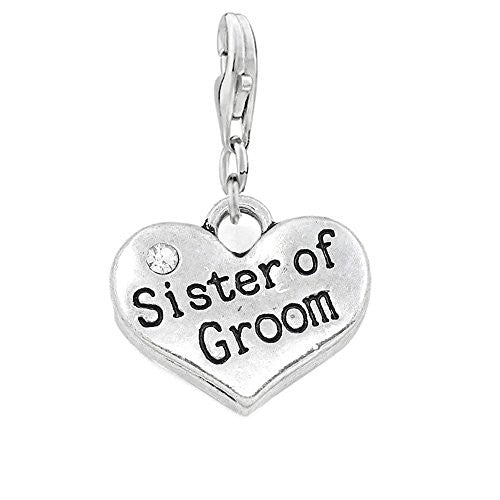 Sister of Groom Clip On Charm for European Jewelry w/ Lobster Clasp