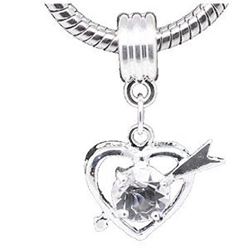 Clear Rhinestone Qupid Heart Dangle Charm European Bead Compatible for Most European Snake Chain Bracelet