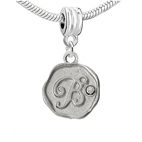 Alphabet Letter B Carved with Clear  Crystals Charm Dangle Bead Compatible with European Snake Chain Bracelets