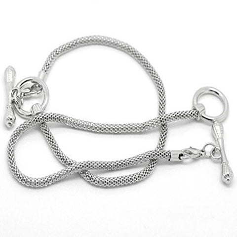 "8"" Silver Tone Toggle Clasp European Charm Bracelet - Sexy Sparkles Fashion Jewelry - 3"