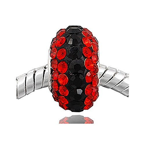 (One)Red & Black Crystal  European Bead Compatible for Most European Snake Chain Bracelets