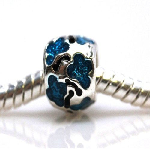 Aqua Flower Design Spacer European Bead Compatible for Most European Snake Chain Bracelet