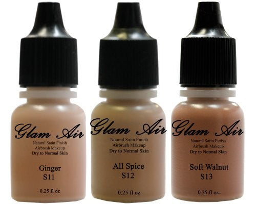 Glam Air Airbrush Water-based Foundation in Set of Three (3) Assorted Tan Satin Shades S11-S12-S13 0.25oz - Sexy Sparkles Fashion Jewelry - 1