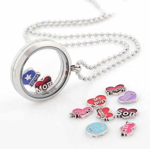 Round Locket Crystal Necklace Base and Floating Family Charms (Baby Hand Print) - Sexy Sparkles Fashion Jewelry - 3